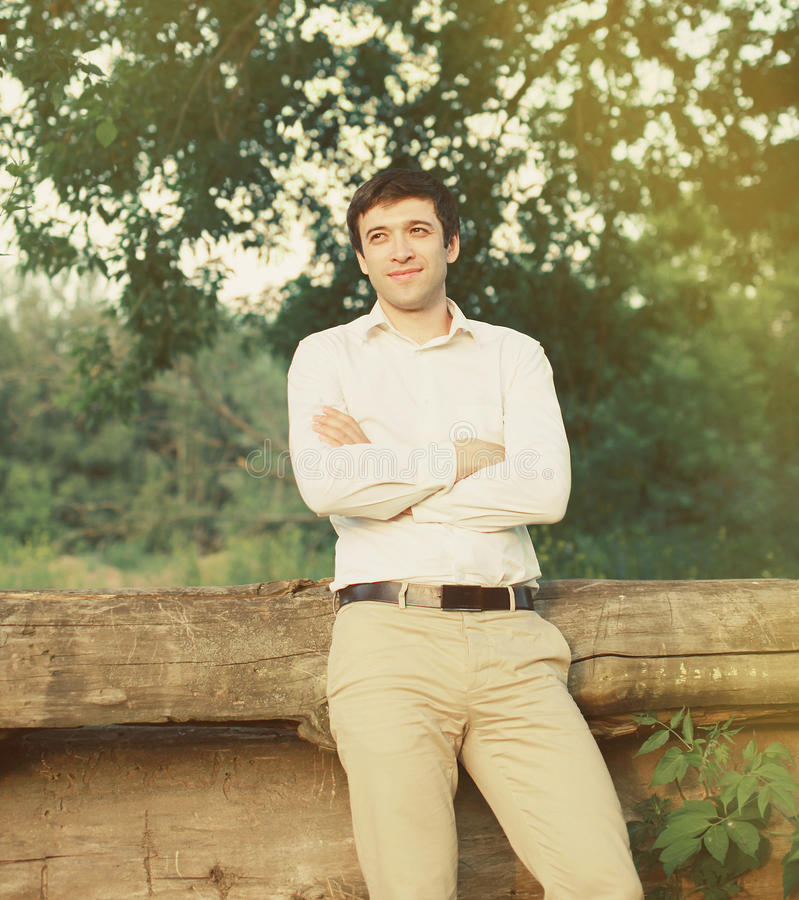 Handsome man outdoors stock photography