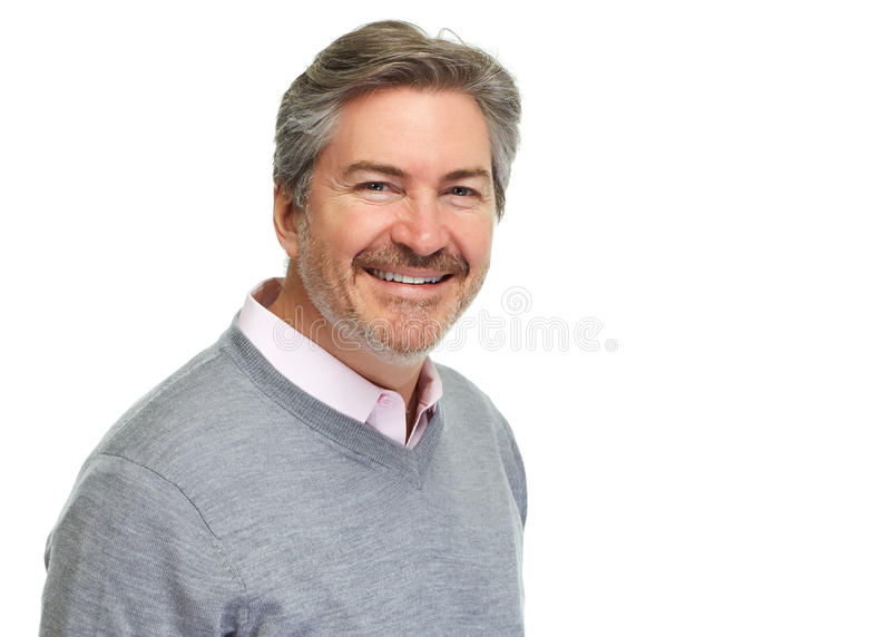 Handsome man portrait. Smiling mature man portrait isolated on white background royalty free stock image