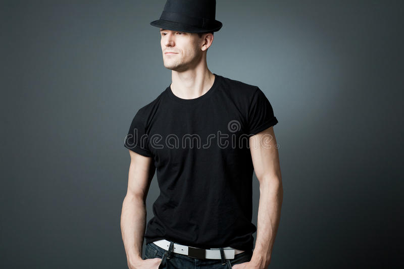 Download Handsome Man Posing In Black T-shirt And Bla Stock Photo - Image: 22109782