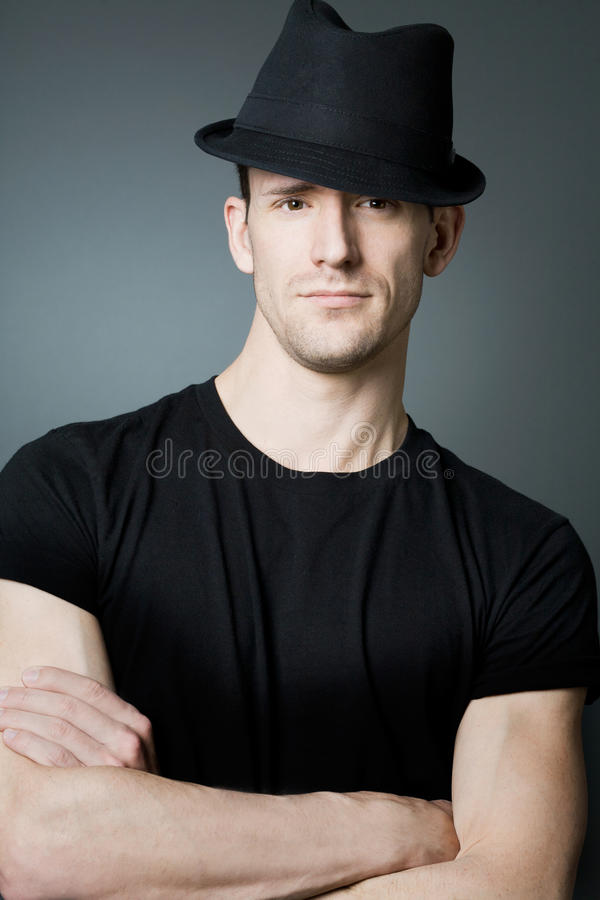 Download Handsome Man Posing In Black T-shirt And Bla Stock Photo - Image: 22109788
