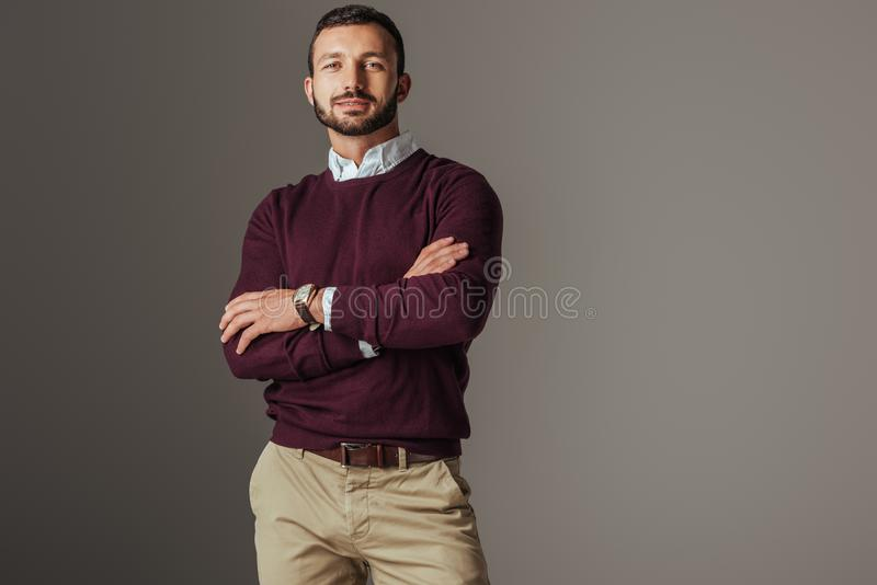 Handsome man posing in burgundy autumn sweater with crossed arms. Isolated on grey royalty free stock photos