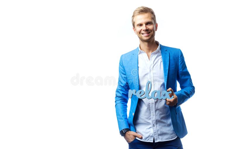 Handsome man with relax sign. Isolated on white stock image