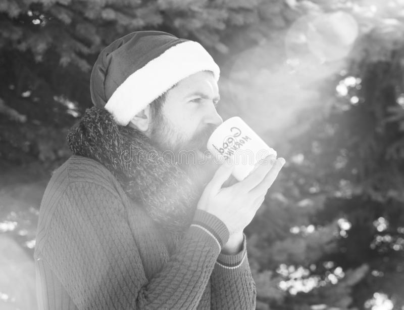 Handsome man in santa claus hat, bearded hipster with beard and moustache drinks from cup with good morning text on. Sunny winter day outdoors on natural stock photo