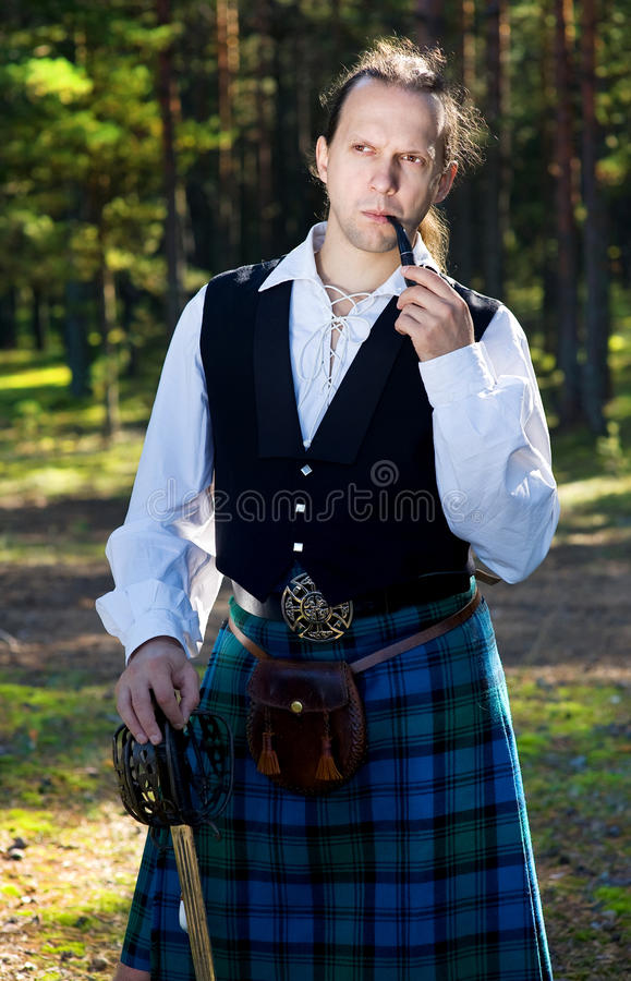 Handsome Man In Scottish Costume Stock Image