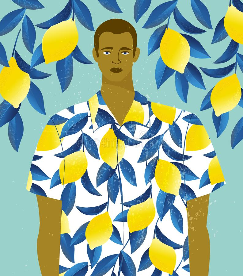 Handsome man in a shirt with lemons print on a lemon tree background. Handsome man in a shirt with lemons print on lemon tree background stock illustration