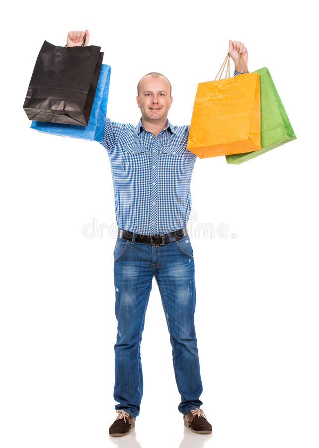 Download Handsome Man With Shopping Bags Stock Image - Image of looking, casual: 35319997