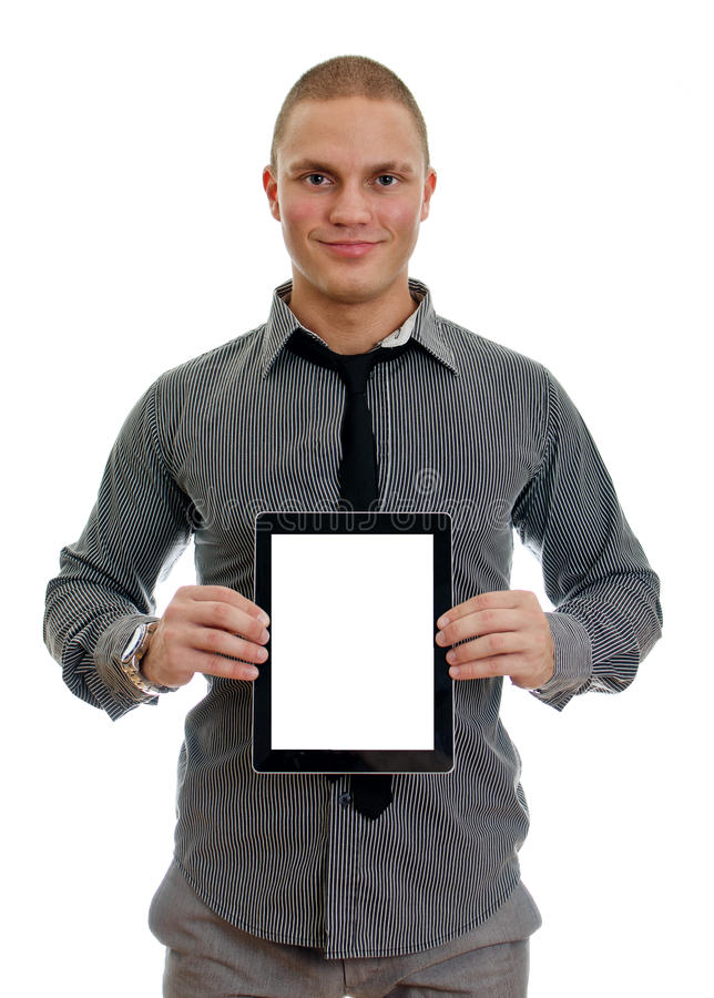 Handsome man showing touch screen tablet pc. With blank screen. Isolated on white stock photography