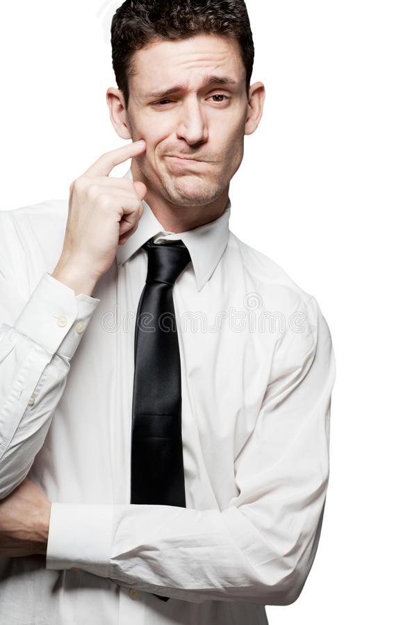 Handsome Man Solving A Problem. Isolated. Stock Images