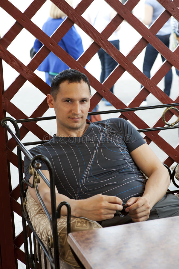 Handsome Man At Street Cafe Royalty Free Stock Photo