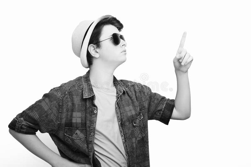 Handsome man with sunglasses and hat stock photography