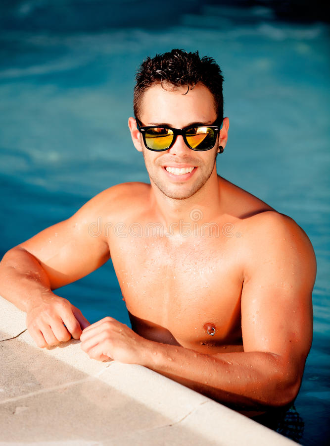 Handsome man with sunglasses stock photo