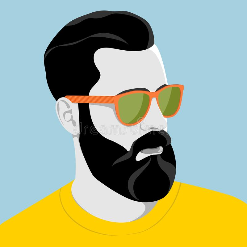 Handsome man with sunglasses. Portrait of handsome young bearded hipster man with serious expression wearing sunglasses and yellow shirt, colorful vector royalty free illustration