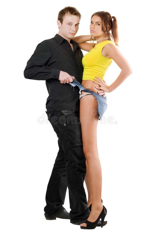 Handsome man taking pretty woman stock photo