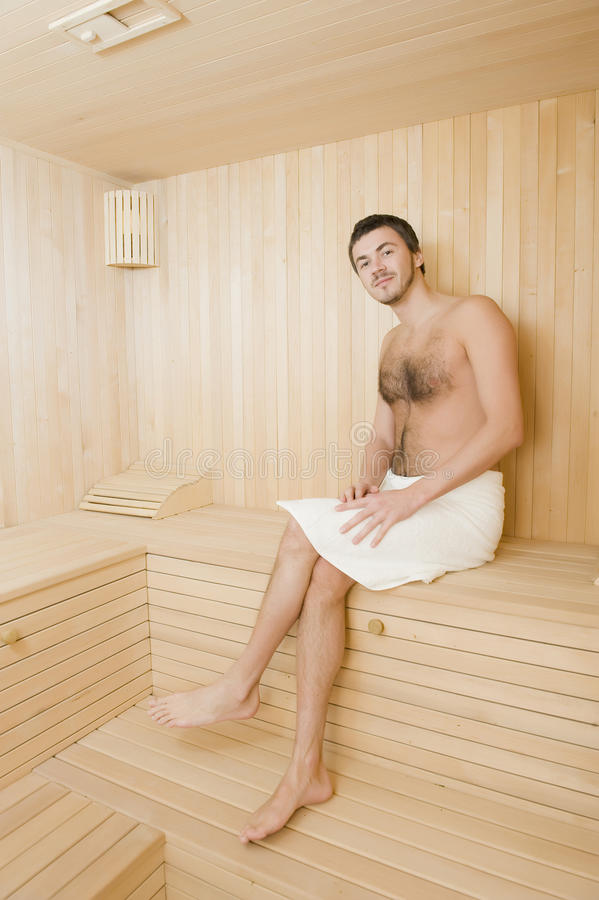 Download Handsome Man In A Towel Relaxing In Sauna Stock Image - Image: 12651199