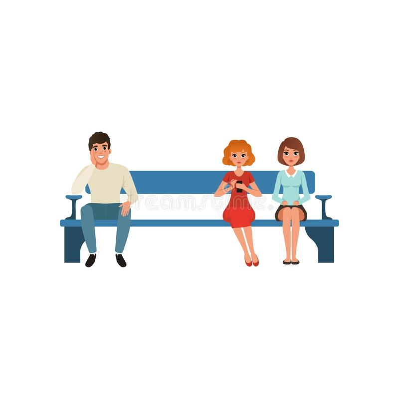Man and two women sitting on bench and waiting for their turn. People in queue. Colorful flat vector illustration stock illustration