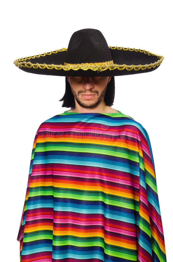 Handsome man in vivid poncho isolated on white. Handsome man in vivid poncho on white stock photography