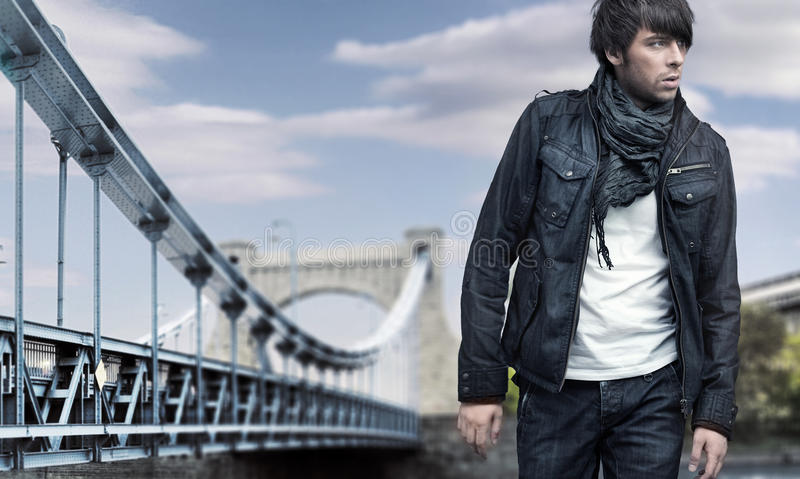 Download Handsome man walking stock image. Image of jeans, clothes - 9649535