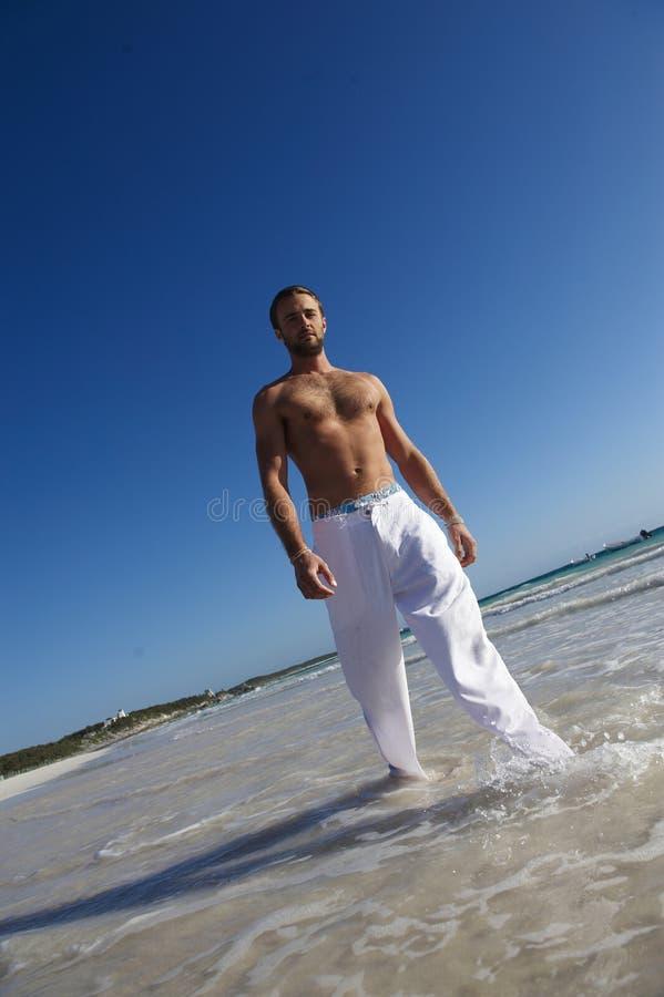 Handsome Man Walking In Sea Stock Image
