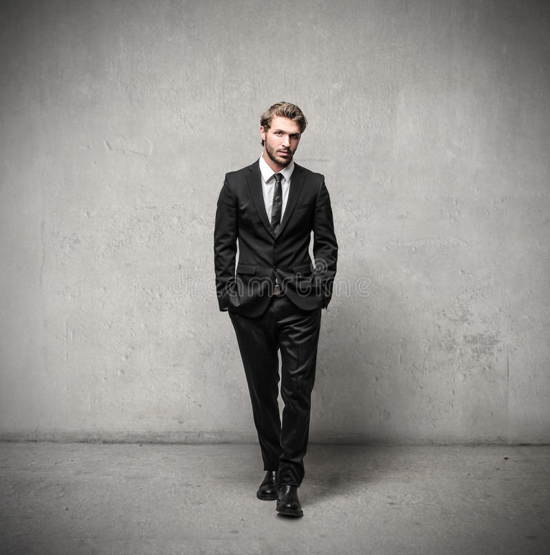 Handsome man wearing a suit stock image