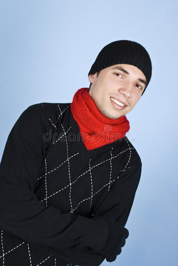 Handsome man in winter clothes stock photo
