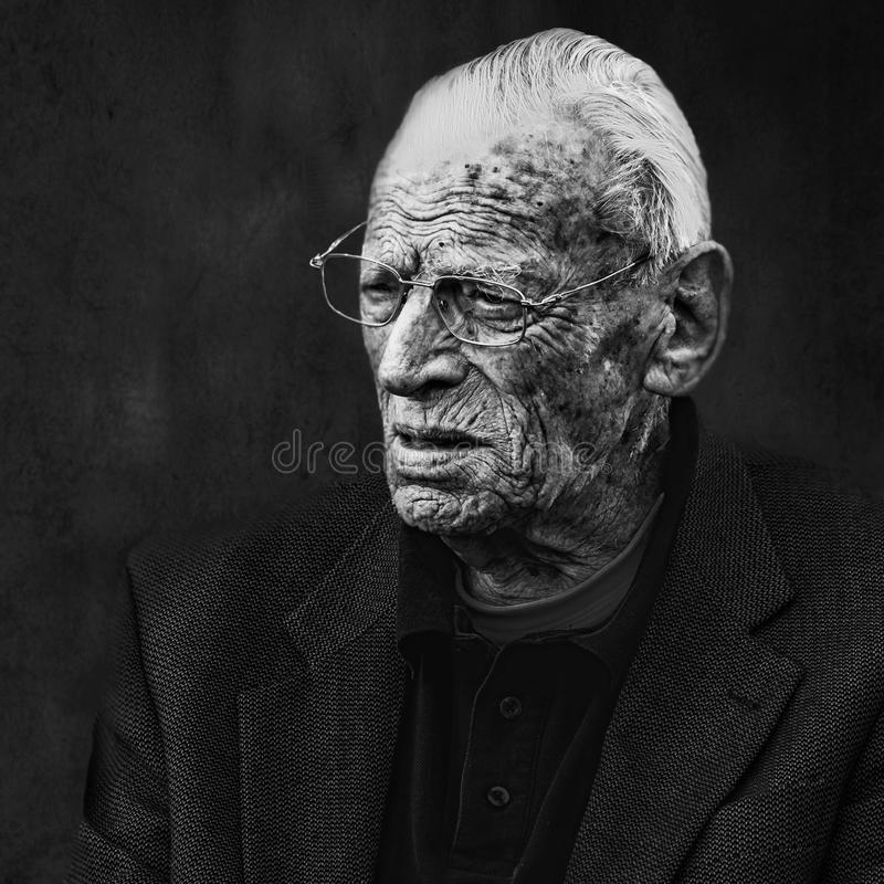 Handsome man with wrinkled face royalty free stock image