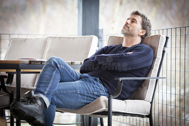 Handsome Mature Dreaming.Outside. Sadness. royalty free stock images