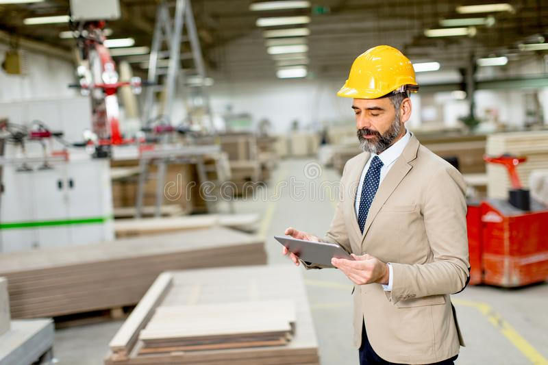 Handsome mature engineer in the factory royalty free stock image