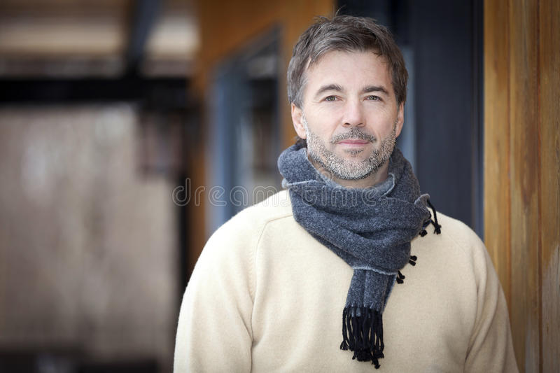 Handsome Mature Happy Man Smiling At The Camera. stock photos