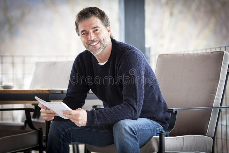 Handsome Mature Happy Man Smiling At The Camera. Outside. royalty free stock images