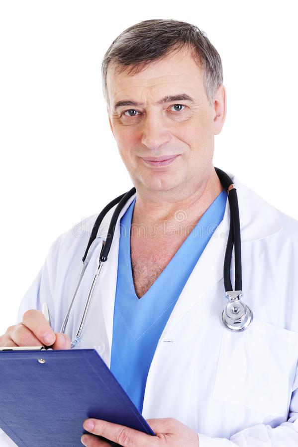 Download Handsome Mature Male Doctor Writing Stock Image - Image: 9839617