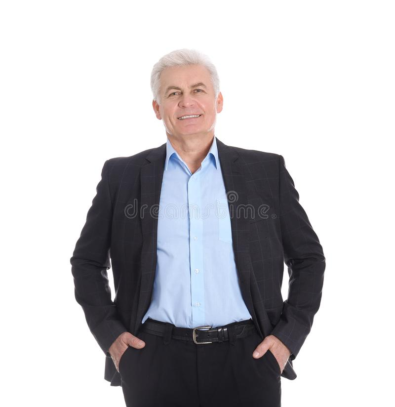 Handsome mature man in stylish suit royalty free stock photo