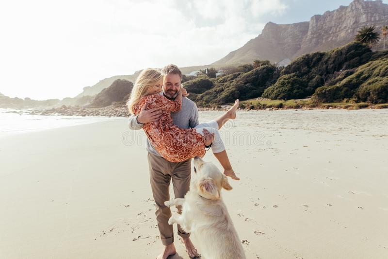 Romantic mature couple with a dog on the beach royalty free stock images