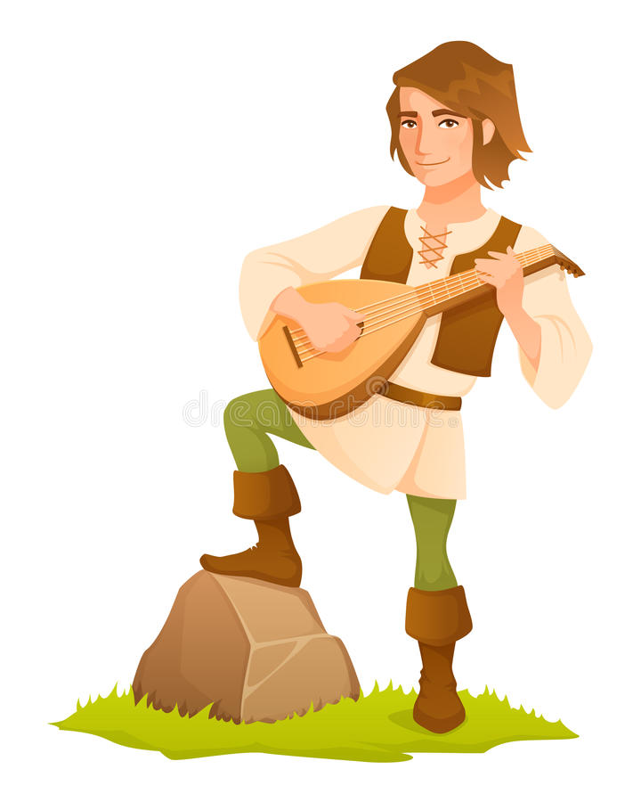 Handsome medieval bard with a lute royalty free illustration