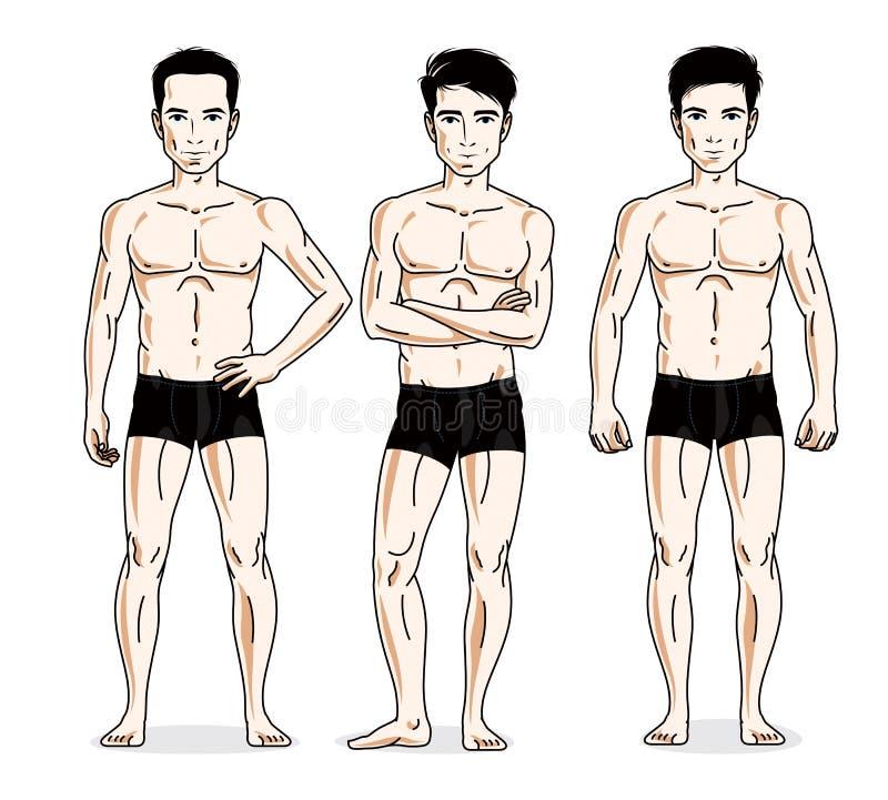 Handsome men posing in black underwear. Vector people illustrations set. royalty free illustration