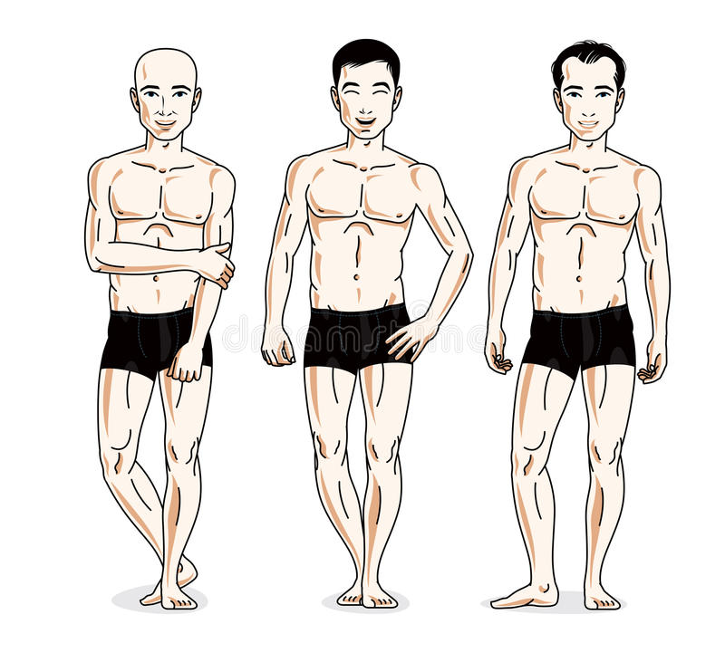 Handsome men posing in black underwear. Vector people illustrations set. Athletic man with perfect body. stock illustration