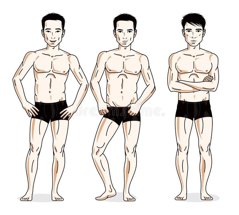 Handsome men standing in black underwear. Vector set of beautiful people illustrations. vector illustration