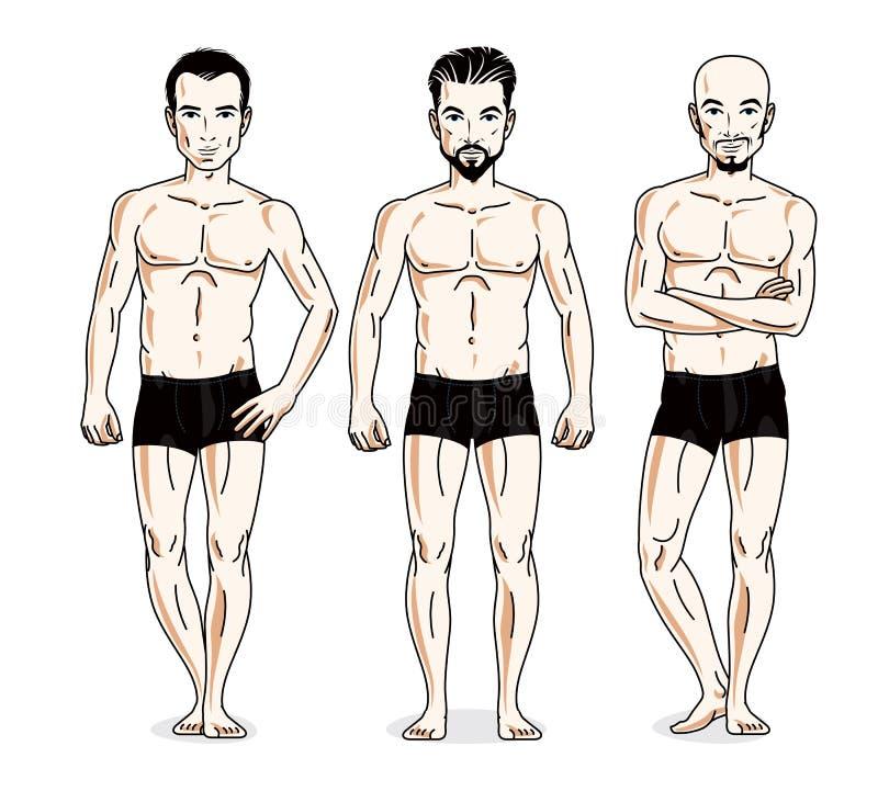 Handsome men standing in black underwear. Vector set of beautiful people illustrations. stock illustration