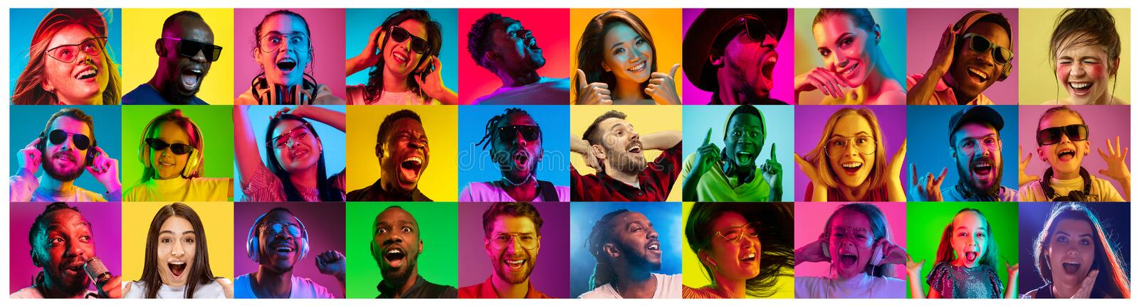Handsome men and women looking suprised and happy. Beautiful male and female portrait on multicolored neon light backgroud. Smiling, surprised, screaming. Human stock photos
