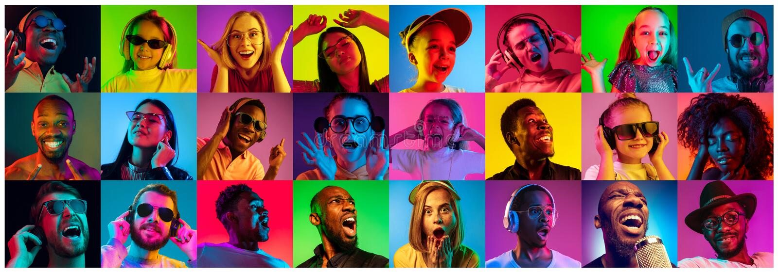Handsome men and women looking suprised and happy. Beautiful people portrait isolated on bright neon light backgroud. Young, smiling, surprised, screaming. Human royalty free stock image
