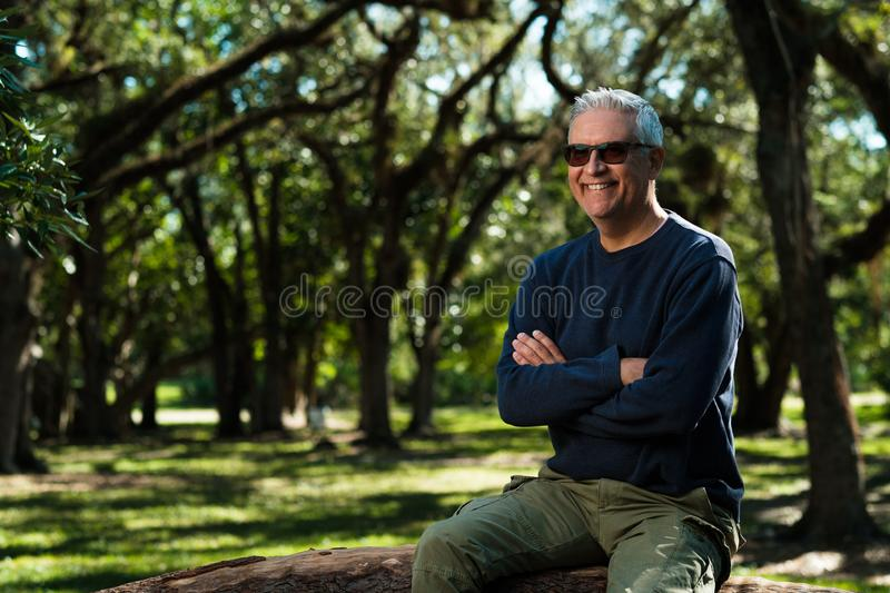 Handsome man outdoors royalty free stock photo