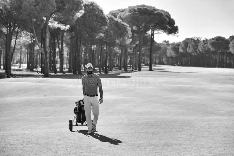 Handsome middle eastern golf player at the course stock photo