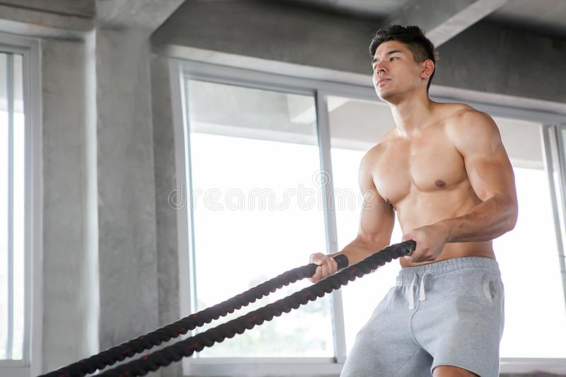 Handsome Muscular bodybuilder man exercises with battle ropes at gym . Shirtless fitness young sport man training .work out stock image