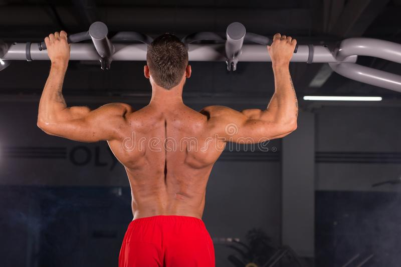 Handsome Muscular Man With Perfect Body Doing Pull Ups in gym stock photo