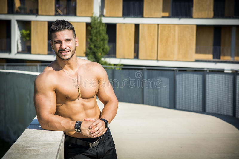 Handsome Muscular Shirtless Hunk Man Outdoor in royalty free stock image