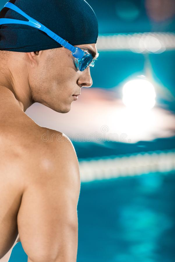handsome muscular swimmer stock photo