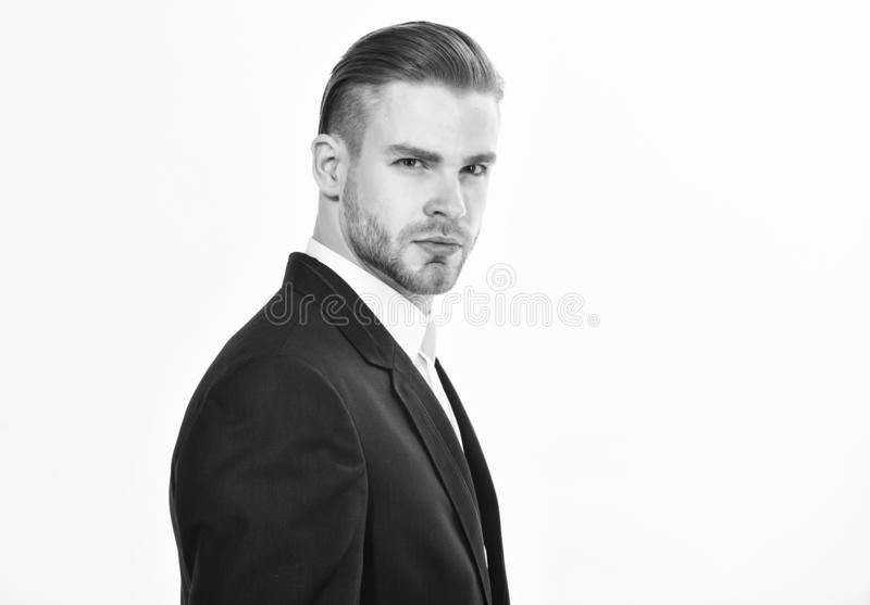 Handsome office worker. Make business decision and take responsibilities. Individual entrepreneur business. Man well. Groomed business formal suit white stock photo
