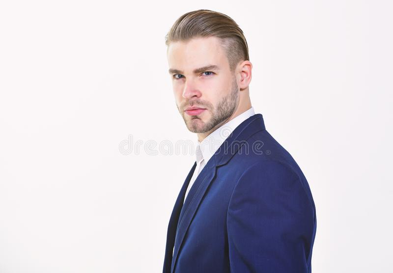 Handsome office worker. Make business decision and take responsibilities. Individual entrepreneur business. Man well. Groomed business formal suit white royalty free stock photography