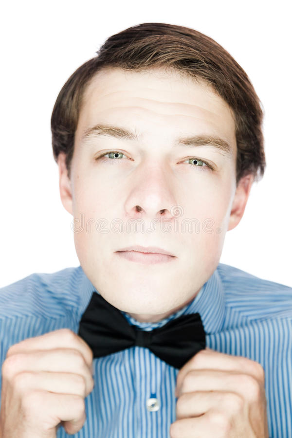 Download Handsome Old-fashioned Gentleman Adjusting His Bow Tie Stock Image - Image: 29526119