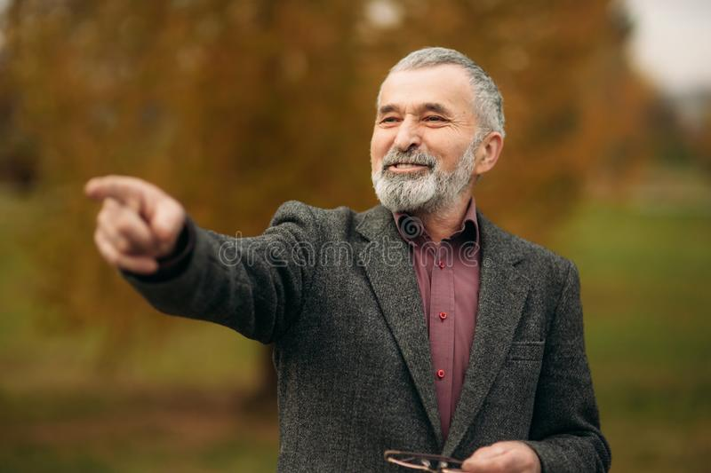 Handsome old man with well-groomed gray-haired beard. Show the way royalty free stock photos