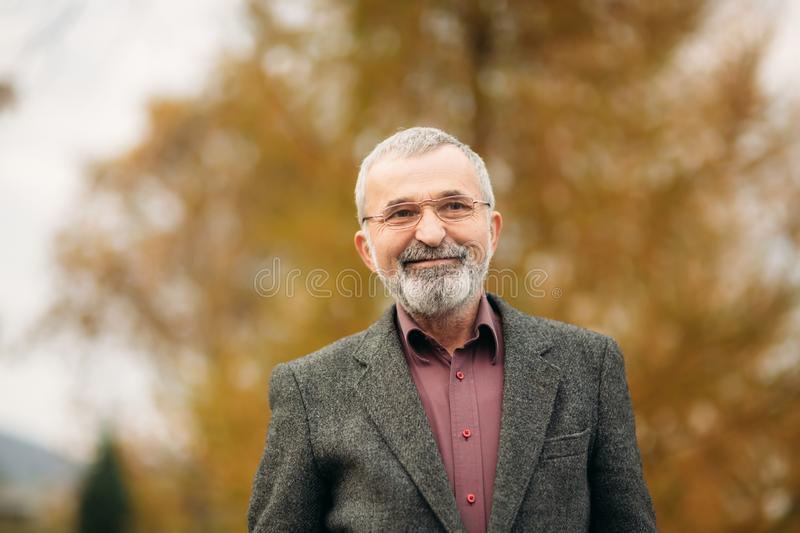 Handsome old man with well-groomed gray-haired beard. Smile and have fun stock photos